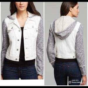 Free People Distressed White Denim and Knit Jacket